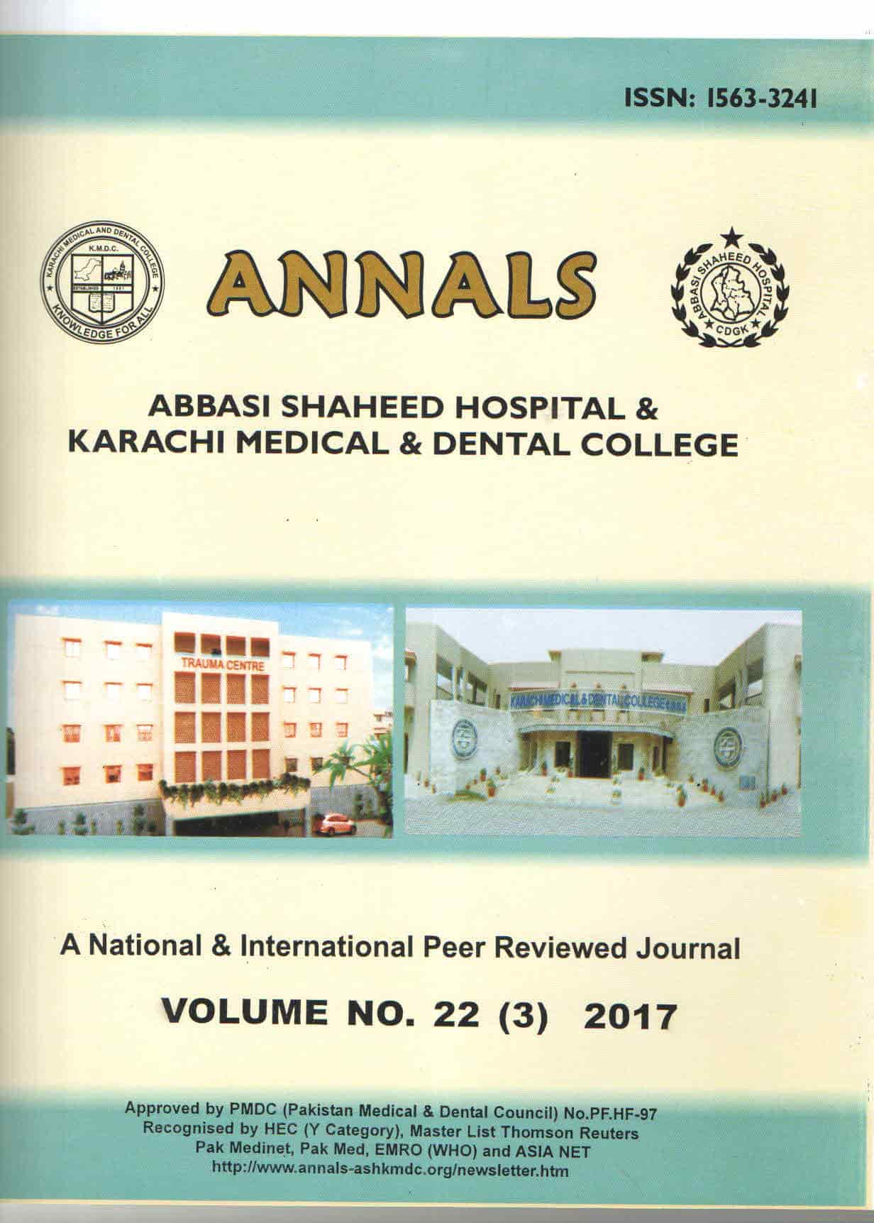 Annals of Abbasi Shaheed Hospital and Karachi Medical and